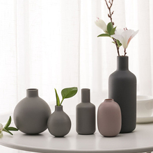 Europe Ceramic vase Gray Mini vases Creative handmade Blowing Frosted Sand Small Crafts fashion home decoration accessories