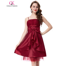 Grace Karin Spaghetti Straps Prom Dress Short Taffeta Black Dark Red Ruched Bodice Party Prom Gowns Special Occasion Dress 2017