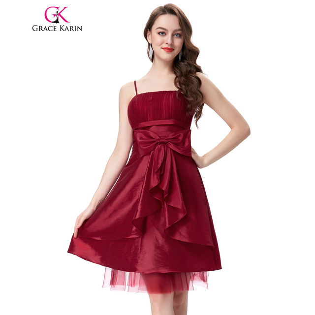 Grace Karin Spaghetti Straps Prom Dress Short Taffeta Black Dark Red ...