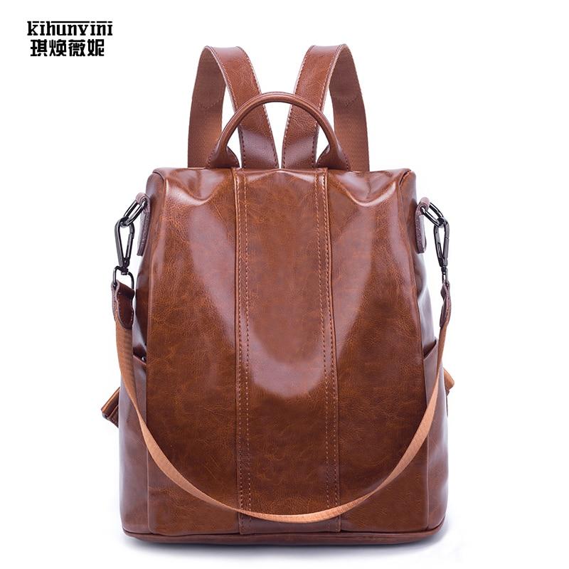 Mode Anti-vol sac à dos pour femmes huile cire cuir sacs à dos dames 2019 nouveau Vintage tout-matchaed sac à dos fille cartable Pack