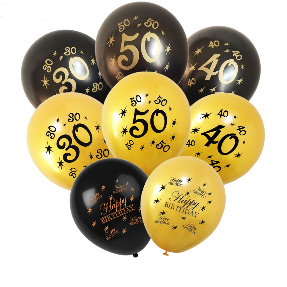 15pcs Gold Black Latex Balloons Number 30 40 50 60 <font><b>70</b></font> Years Happy <font><b>Birthday</b></font> Party <font><b>Decorations</b></font> Adult Foil Helium Balloon Kids image