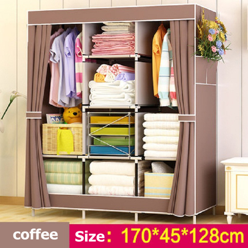 Simple modern folding wardrobe assembled Non-woven Fabric closet Detachable Clothing furniture cabinet 13mm Steel Pipe