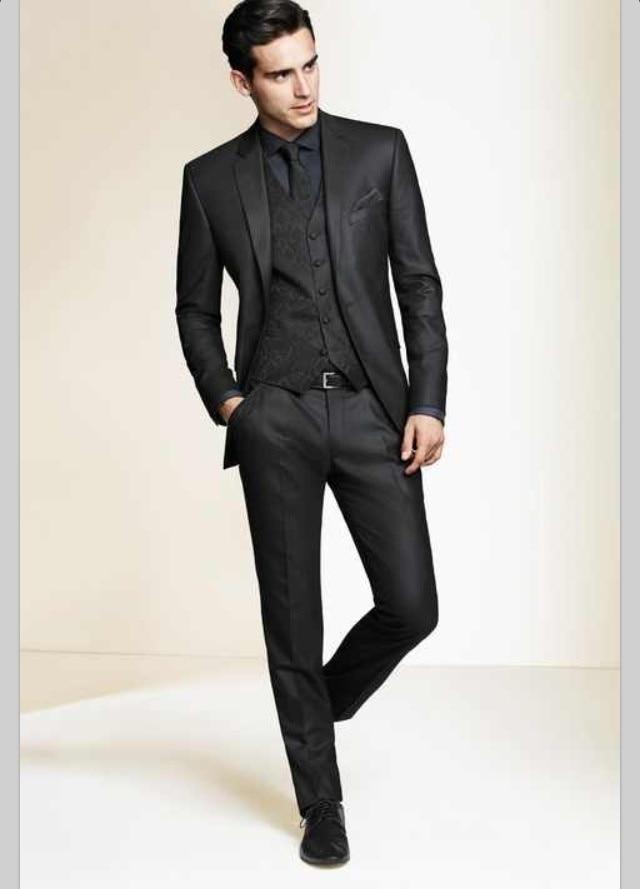 Wholesale 2015 Black Slim Fit Custom made mens tuxedo wedding ...