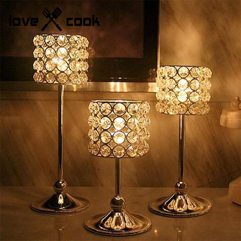 The New High Grade Stainless Steel Lampshade Crystal Candles Holders Wedding Vick Crystal Candlestick