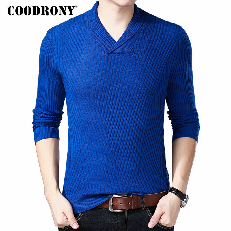 COODRONY Mnes Sweaters 2018 Autumn Winter New Arrivals Cashmere Wool Sweater Pullover Men Casual Henry Collar V-Neck Jumper 8239