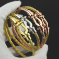 (10pcs)France Fred  Brand Jewelry Gold Plated Stainless Steel Wire  Force Buckle  Wristband Bracelet Bangle For Men Women
