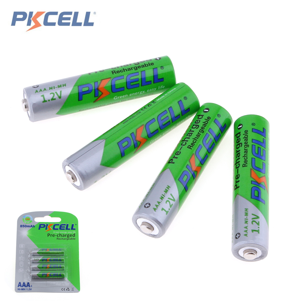 PKCELL 4Pcs 1.2V AAA 850mAh Batteries NI-MH AAA Rechargeable Battery Batteries 3A Bateria Baterias new for 2016 2 pcs aaa 3a 1800mah 1 2v ni mh rechargeable battery