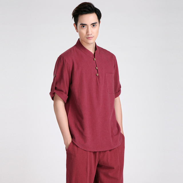 9c0a264bce30e Burgundy Chinese Style Cotton Linen Kung Fu shirt Men Short Sleeve Casual Shirt  New Tang Suit