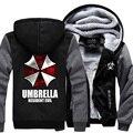 2017 осень зима мода молнии толстовки Resident Evil Umbrella свободные флисовая толстовка мужчины harajuku фитнес куртка спортивные костюмы