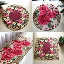 LIURomantic Floral Room Floor Mats Sweet Rose Print Carpets Living Room Modern,Designer Shabby Style Flower Rug Decorative