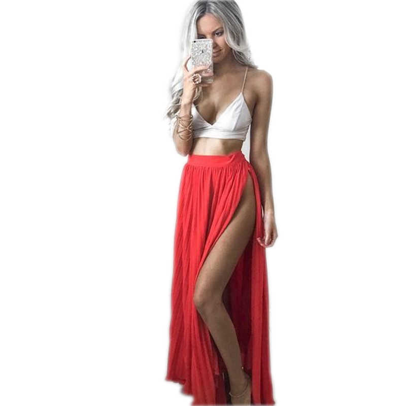 68b2be1cee ... Hot Sexy Red Skirts Women Floor Length A Line Long Maxi Skirt With Side  High Slit ...