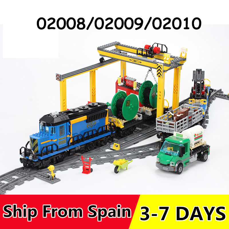 02008 02009 02010 City Cargo Train Series Building Blocks with motor remote control Compatible 60052 60098
