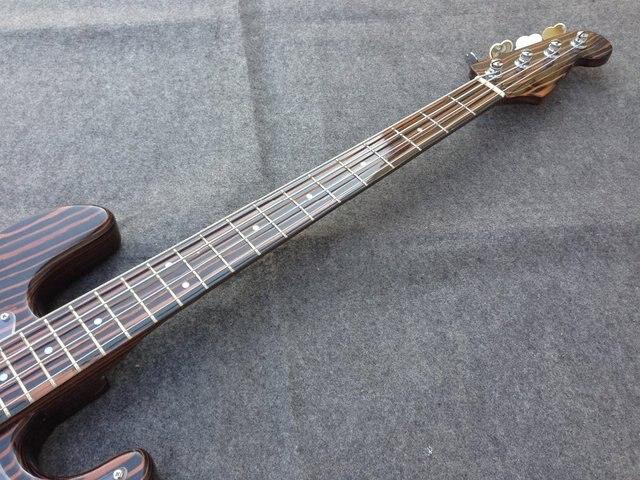 High quality 4 strings zebra wood  electric bass guitar  zebra wood neck 3