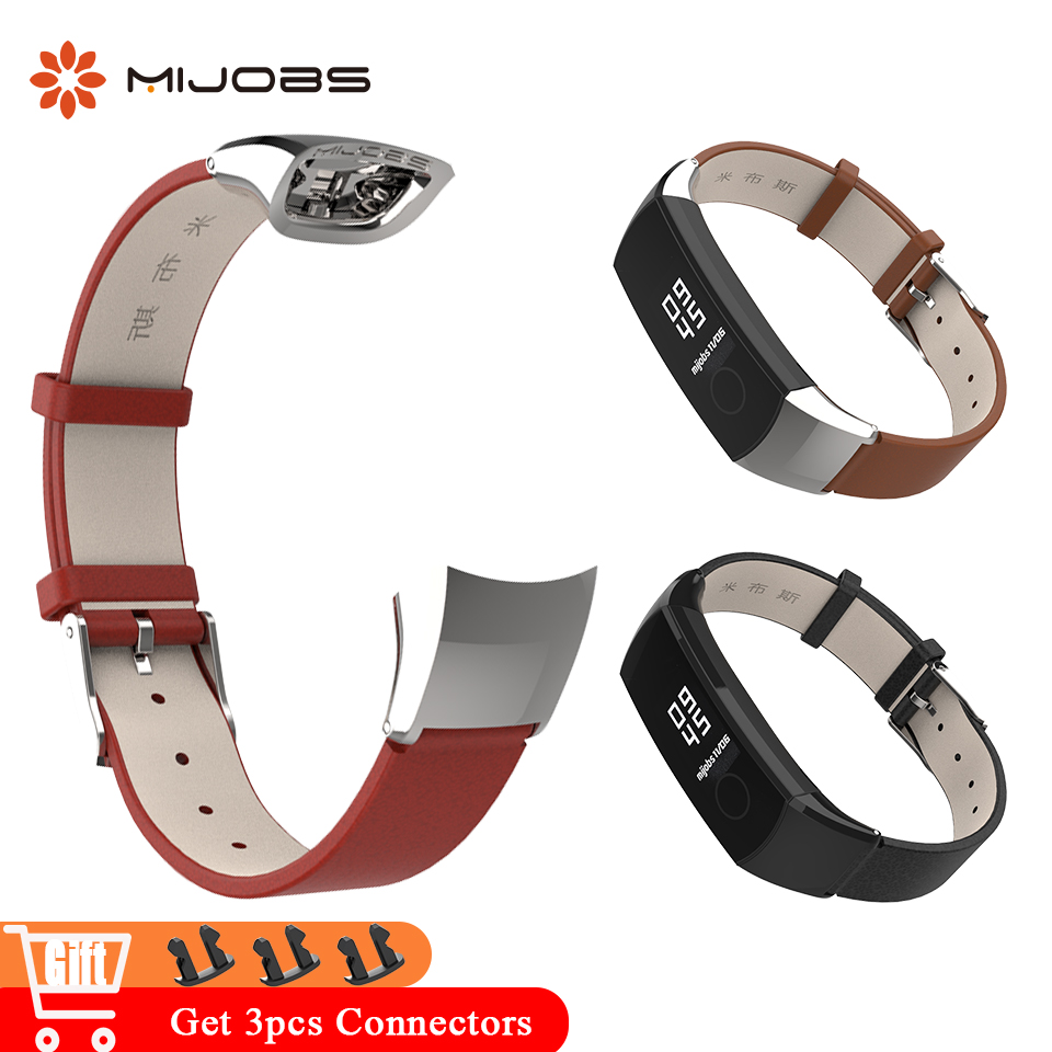 Mijobs Genuine Leather Wrist Strap For Honor Band 4 Band Bracelet For Huawei Honor Band 4 NFC Smart Watch Wristbands Accessories
