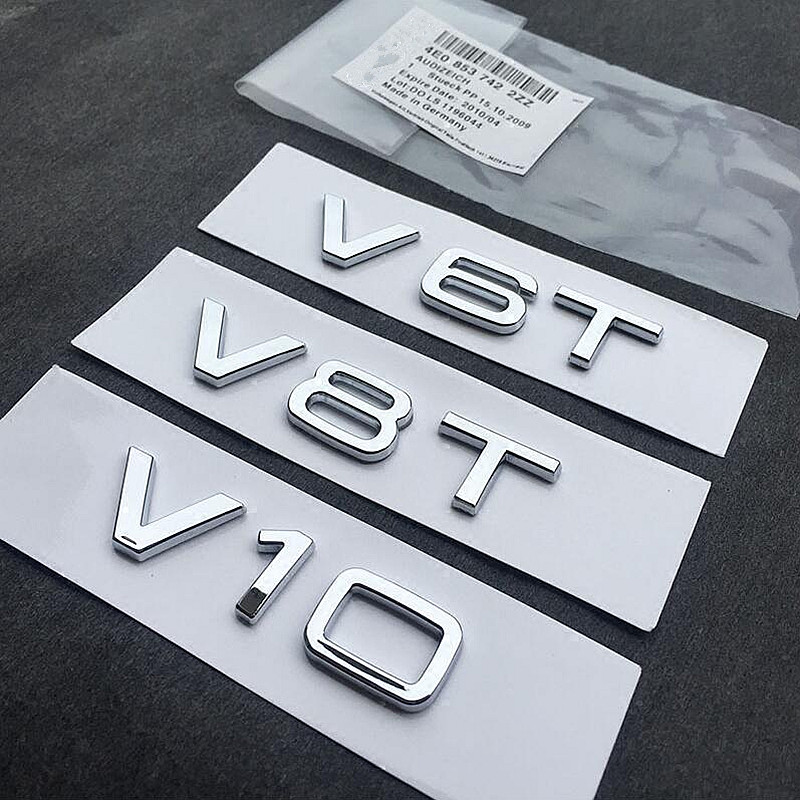 New V6T V8T 3D Metal Fender Side Body Badge Emblem Sticker Ho Car Auto Automobiles for Audi A4 A3 A5 A6 A1 Q3 Q5 Q7 Car-Styling free ship turbo k03 29 53039700029 53039880029 058145703j n058145703c for audi a4 a6 vw passat 1 8t amg awm atw aug bfb aeb 1 8l