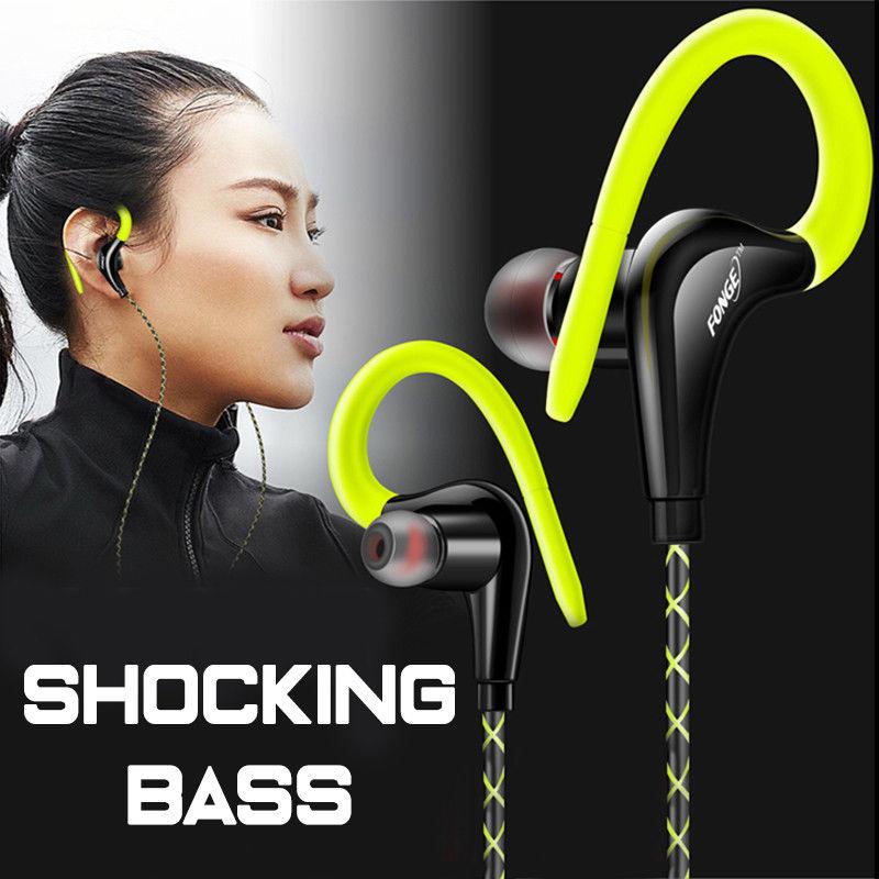 Fonge Ear Hook Sport Earphone Super Bass Sweatproof Stereo Headset Sport Headphone for Huawei Galaxy s6 smart phone