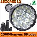 LED torch light 20000 Lumens 15 x CREE XM-L2 LED 5 Modes Waterproof Super Bright LED Torch Flashlight 1200m Lighting Distance
