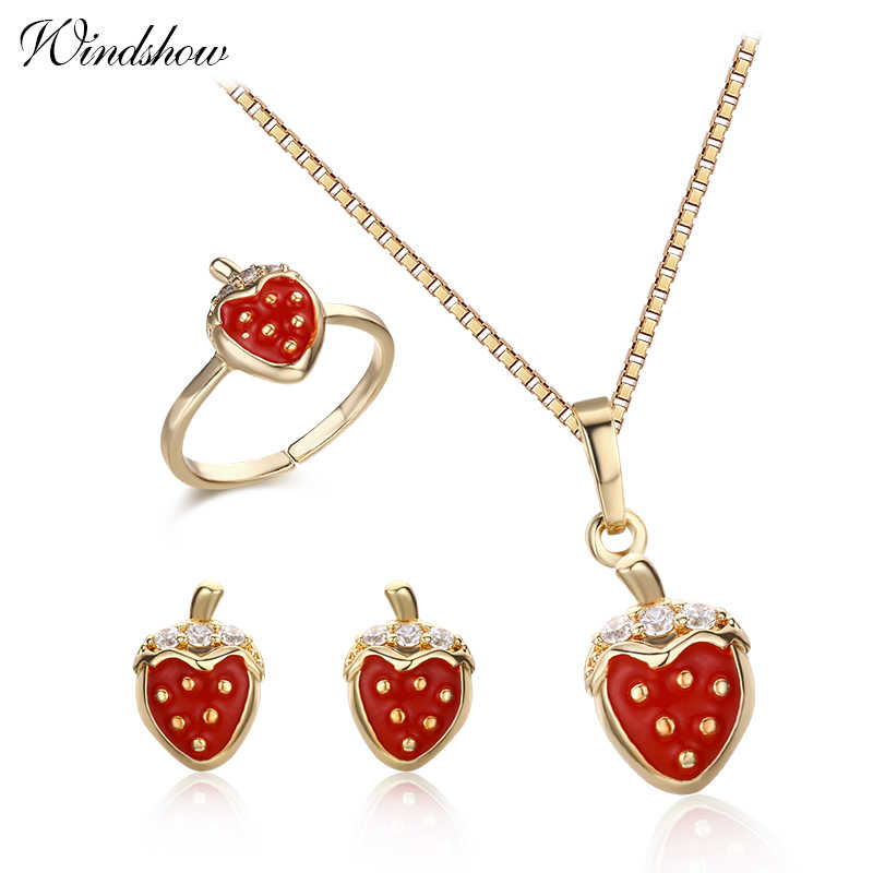 Cute Gold Color Red Strawberry CZ Pendant Necklace Stud Earrings Opened Ring Small Jewelry Sets for Baby Kids Children Girls