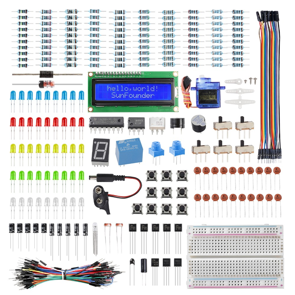 SunFounder Electronics Fun Kit With 1602 LCD Module,breadboard,LED,Resistor For Arduino UNO MEGA2560 Or Raspberry Pi