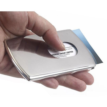 1 Piece Business Card Holder Women Vogue Thumb Slide Out Stainless Steel Pocket ID Credit Card Holder Case for Men Free Shipping