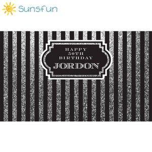 Image 2 - Sunsfun 7x5ft nero argento verticale adulti compleanno fondali cornice personalizza sfondo Computer stampa compleanno foto sfondo