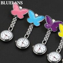 Women's Cute Pendant Butterfly Nurse Clip-On Brooch Quartz Hanging Pocket Watch  98YZ