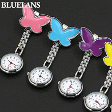 Women's Cute Pendant Butterfly Nurse Clip-On Brooch Quartz Hanging Pocket Watch  98YZ