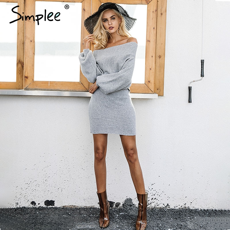 Simplee Off Shoulder Long Knitted Sweater Dress DR874