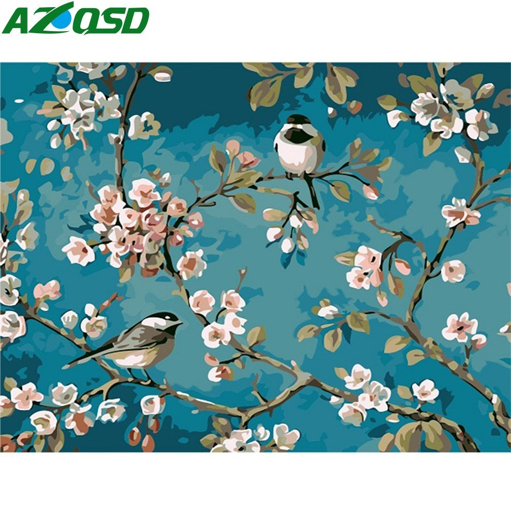 AZQSD Painting By Numbers 40x50cm White Flower With Little Bird Oil Painting Picture By Numbers On Canvas Home Decor Szyh419