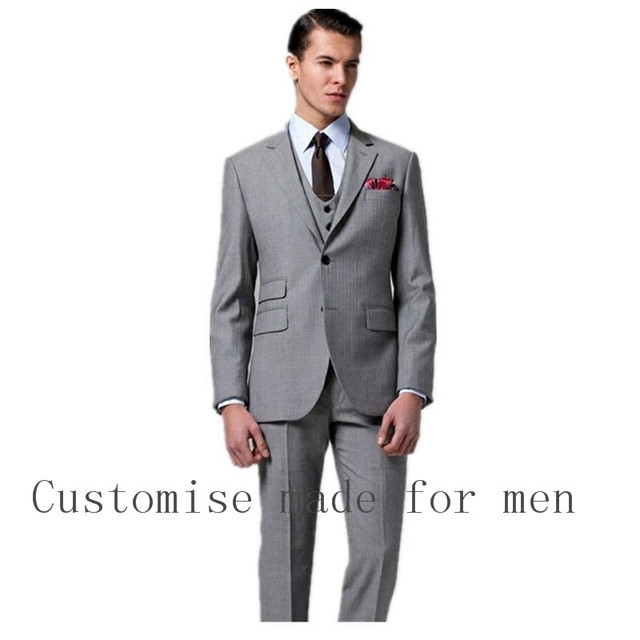 2017 Fashion Men Suits Silver Groom Tuxedos Formal Best Men\'s ...
