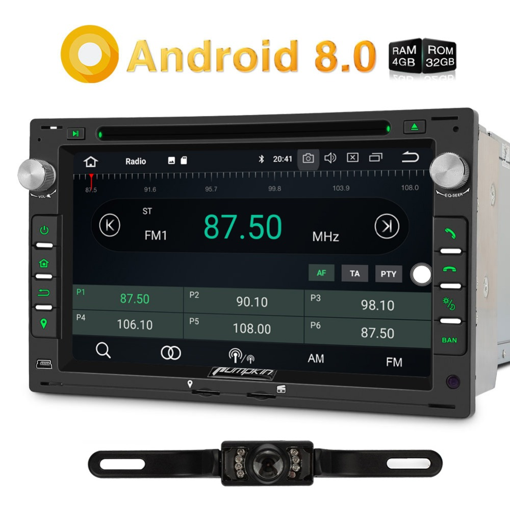 Pumpkin 2 Din 7''Android 8.0 Car DVD Player GPS Qcta-core 4RB RAM 32GB ROM Car Stereo For VW/Passat B5/Golf FM AM Radio Audio pumpkin autoplay for android car dvd player system car radio above version 5 1 and above ios 7 1 for iphone carplay
