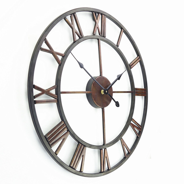 Free Shipping +18.5 Inch Oversized 3D Iron Decorative Wall Clock Retro Big Art Gear Roman Numerals Design The Clock On The Wall