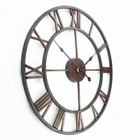 Free Shipping +18 Inch Oversized 3D Iron Decorative Wall Clock Retro Big Art Gear Roman Numerals Design The Clock On The Wall