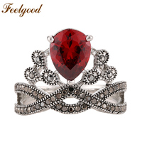 2016 New Fashion Elegant Jewelry Vintage Silver Plated Red Cubic Zirconia Diamond Crown Rings For Women