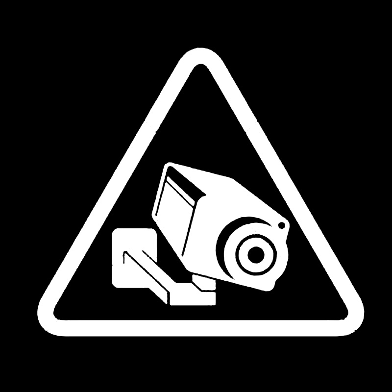 14.2CM*12.5CM Cute Camera Cctv Video Surveillance Sign Vinyl Car Sticker Auto Accessories Black/White image