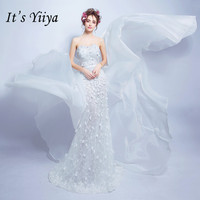 It's YiiYa Evening Dress Appliques Pearls White Wedding Formal Train Prom Dresses Strapless A Line Lace Flowers Party Gowns E191