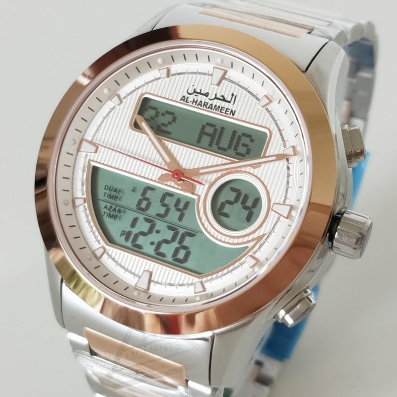 Islam Azan Wristwatch with Dual Display Rose Gold Stainless Steel Muslim Quatz Watch for Prayer relogio masculino Leather Box
