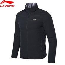 Li-Ning, мужская тренировочная серия, короткий пуховик, двусторонний, 90% белый утиный пух, приталенная подкладка, зимние спортивные куртки AYMN103 MWY317