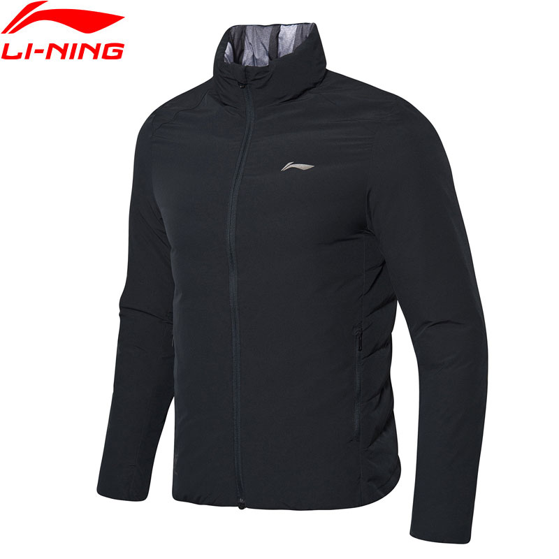 Li-Ning Men Training Series Short Down Coat Reversible 90%White Duck Down Slim Fit LiNing Winter Sports Jackets AYMN103 MWY317