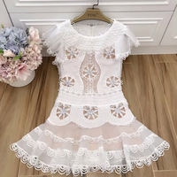 Summer Runway Designer Dress Women's High Quality O neck Sleeveless Floral Appliques Embroidery White Lace Dress Vestidos