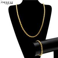 Fashion Gold Silver 6 5mm Hip Hop Rope Twist Chain Necklace Dubai Gold Jewellery Punk Steampunk