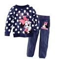 Pijamas de las muchachas 95% Algodón de Dibujos Animados Traje Niños Niños Que Arropan el sistema 2 Unids Night Sleep Wear de Manga Larga Primavera Verano Otoño AA0628