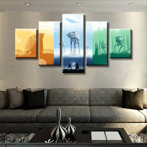 5 Panel Modular Picture Star Wars Painting Canvas Wall Art Home Decor Living Room Printed Modern Artwork