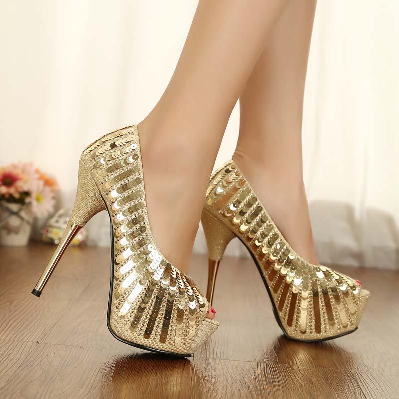 sequin peep toe heels