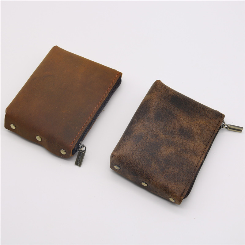 Men Wallet Genuine Leather Coin Purses Women Male Small Change Mini Zipper Money Bag Pocket Wallets Key Holder Carteira Handmade