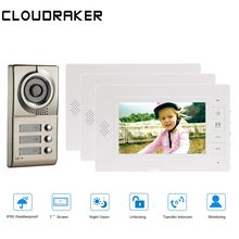 цены CLOUDRAKER 7 Inch LCD Video Door Phone Intercom Doorbell 3 Monitors Two-way Access Control Home Security Camera For 3 Apartments