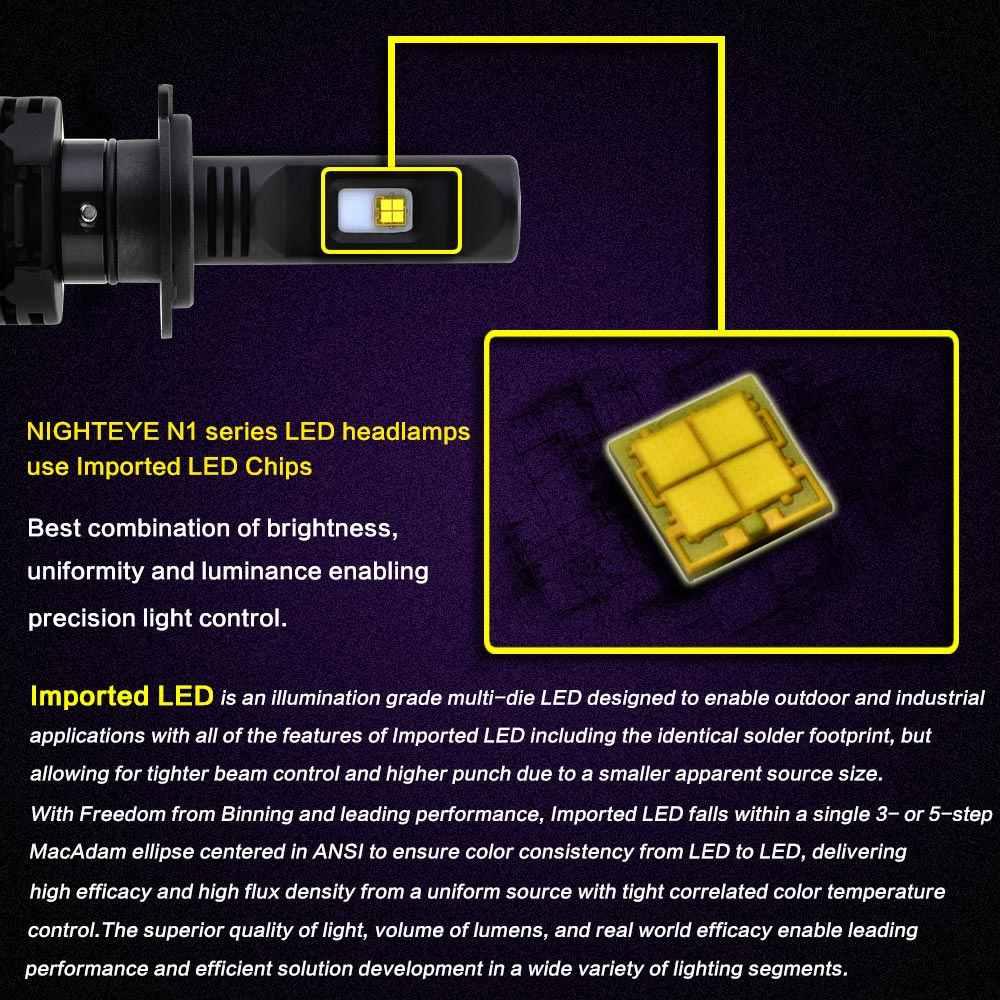 H7 LED Lamp Headlight Kit 80W 12000LM Hi/Lo Auto Replacing Bi Car Light Bulbs White LED Head Lamp 12V LED Headlight Bulb led h7