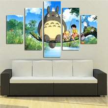 Modular Canvas Picture HD Printed Wall Art Framework 5 Panels Anime My Neighbor Totoro Painting Living Room Home Decor Poster