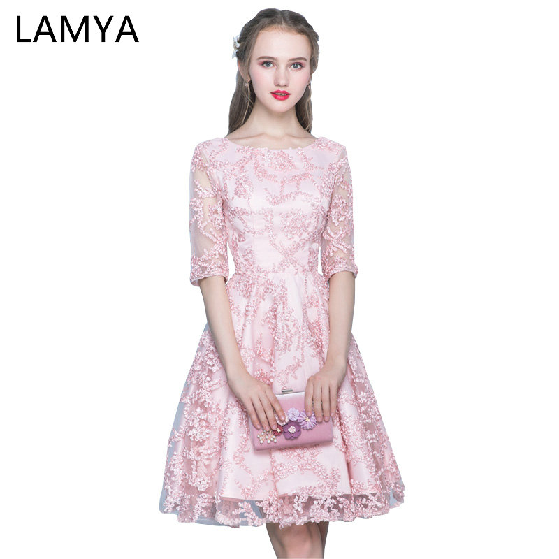 Lamya Pink Half Sleeve Prom Dresses 2018 Short A Line Evening Party Dress Simple Red Cheap Plus Size