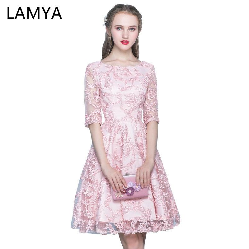 LAMYA Pink Half Sleeve   Prom     Dresses   2018 Short A Line Evening Party   Dress   Simple Red Cheap Plus Size Gown vestidos de festa